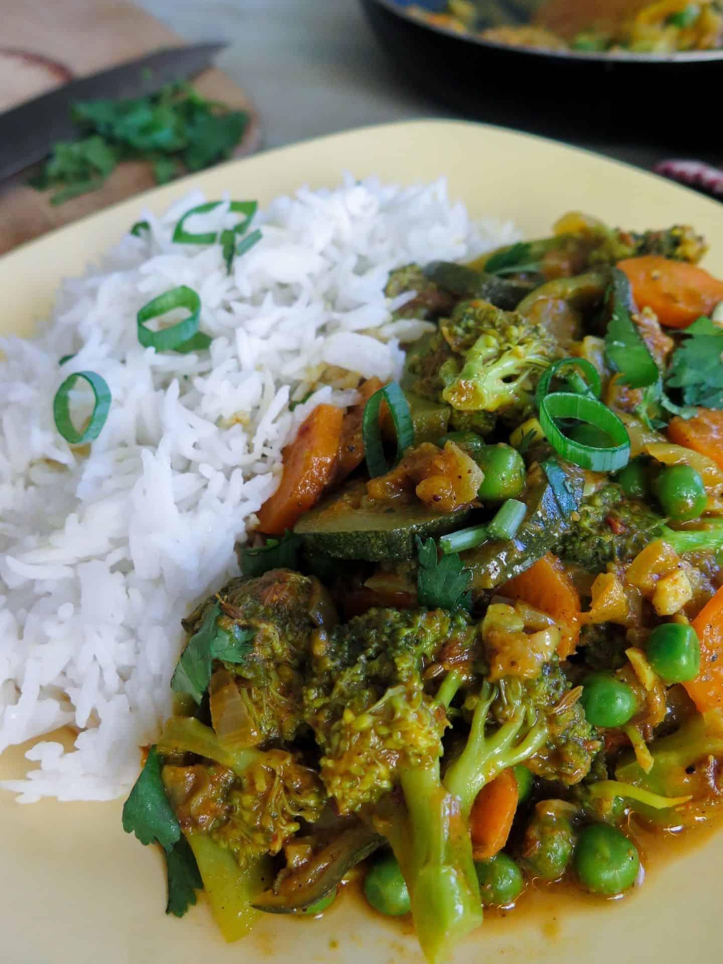 Indisches Veganes Gemüse Korma Nahaufnahme